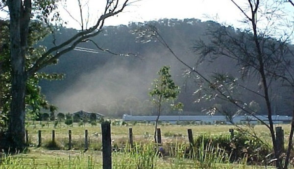 Dust emitted from a broiler shed at Pumicestone in SE Queensland.